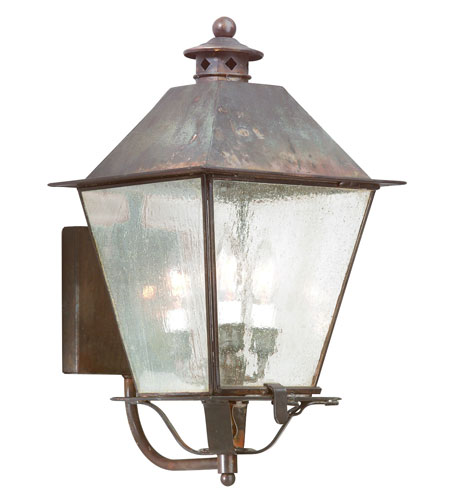 Troy Lighting BCD9134NR Montgomery 3 Light 20 inch Natural Rust Outdoor Wall Lantern in Clear Seeded photo
