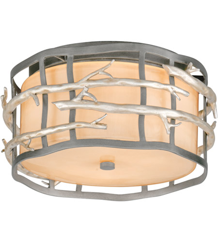 Troy Lighting C2880 Adirondack 2 Light 13 inch Graphite And Silver Flush Mount Ceiling Light in Incandescent photo