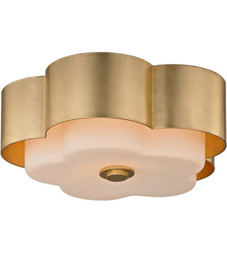 All White With Gold Leaf Ceiling And Degournay Coco: Troy Lighting C5651 Allure 2 Light 14 Inch Gold Leaf Flush