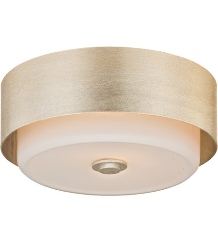 Troy Lighting C5662 Allure 2 Light 13 inch Silver Leaf Flush Mount Ceiling Light, Opal White Glass photo