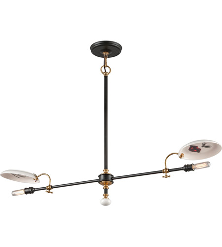 Troy Lighting F4692 Dinner Date 2 Light 42 inch Dark Bronze with Antique Brass Pendant Ceiling Light photo