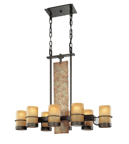 Troy Lighting F1848BB Bamboo 8 Light 36 inch Bamboo Bronze Island Ceiling Light photo
