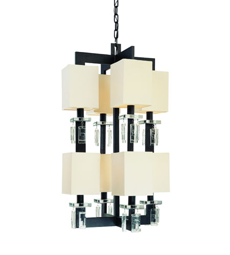 Troy Avanti 8Lt Pendant Entry Large Ceiling Mount Pendant In Anthracite And Cryst F2178ATR photo