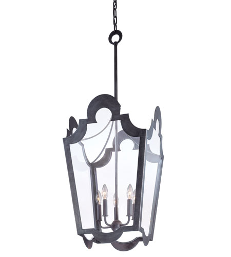 Troy Lighting Rhodes 5 Light Pendant in Old Silver F2575 photo