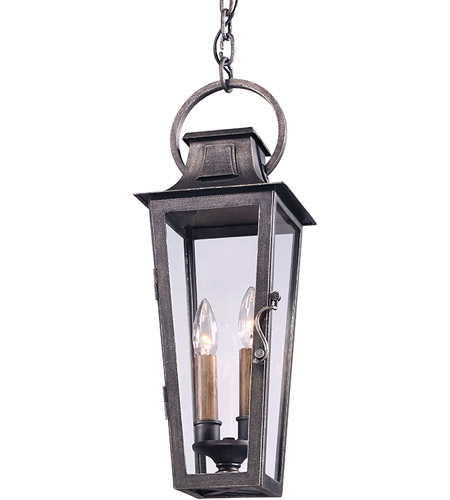 Troy Lighting F2966 Parisian Square 2 Light 7 inch Aged Pewter Outdoor Hanging Lantern in Incandescent photo
