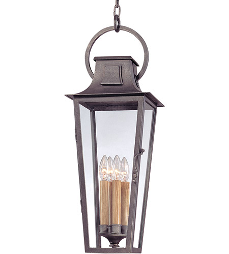 Troy Lighting F2967 Parisian Square 4 Light 10 inch Aged Pewter Outdoor Hanging Lantern in Incandescent photo