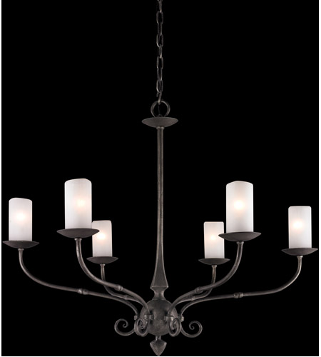Troy Lighting Prescott 6 Light Chandelier in Aged Pewter F3116 photo