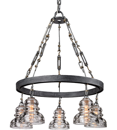 Troy Lighting F3135 Menlo Park 5 Light 26 inch Old Silver Pendant Ceiling Light photo