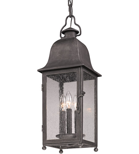 Troy Lighting Larchmont 3 Light Outdoor Hanger in Aged Pewter F3217 photo