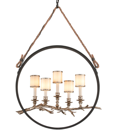Troy Lighting F3445 Drift 5 Light 12 inch Bronze With Silver Leaf Pendant Ceiling Light photo