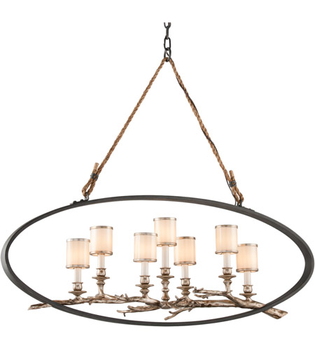 Troy Lighting F3447 Drift 7 Light 13 inch Bronze With Silver Leaf Pendant Ceiling Light photo
