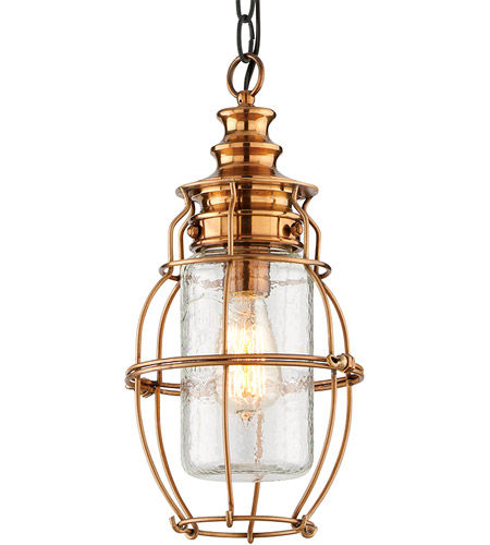 Troy Lighting F3578 Little Harbor 1 Light 8 inch Aged Brass With Forged Black Accents Outdoor Hanging Lantern photo