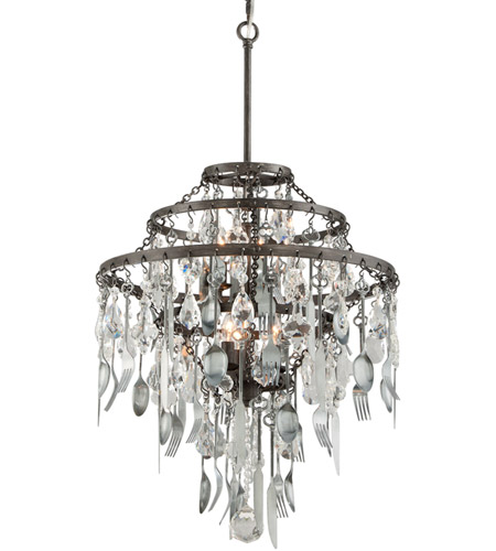 Troy Lighting F3806 Bistro 6 Light 20 inch Graphite with Antique Pewter Chandelier Ceiling Light photo