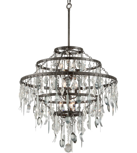 Troy Lighting F3809 Bistro 9 Light 30 inch Graphite with Antique Pewter Chandelier Ceiling Light photo