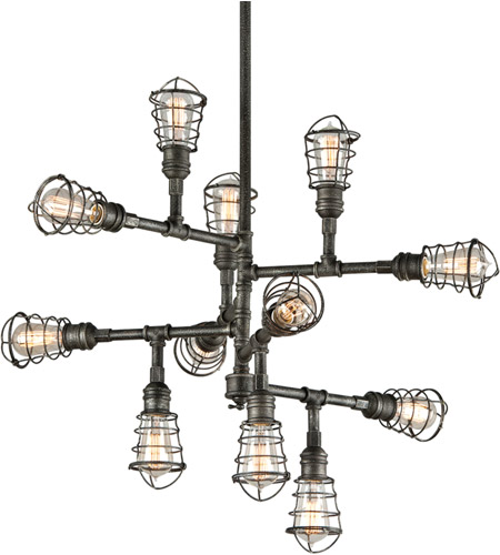 Troy Lighting F3817 Conduit 12 Light 34 inch Old Silver Chandelier Ceiling Light photo