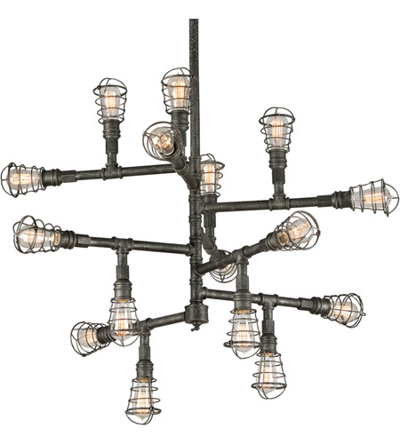 Troy Lighting F3818 Conduit 16 Light 42 inch Old Silver Chandelier Ceiling Light photo