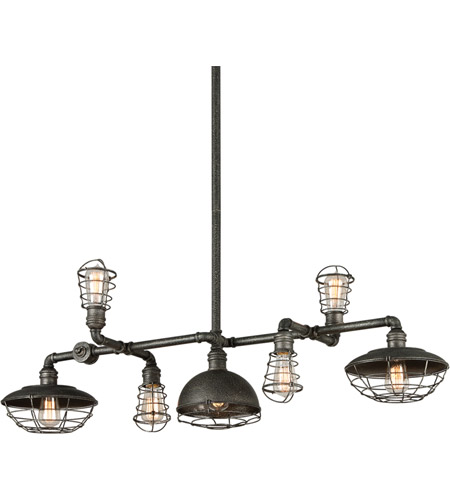 Troy Lighting F3819 Conduit 7 Light 47 inch Old Silver Island Pendant Ceiling Light photo