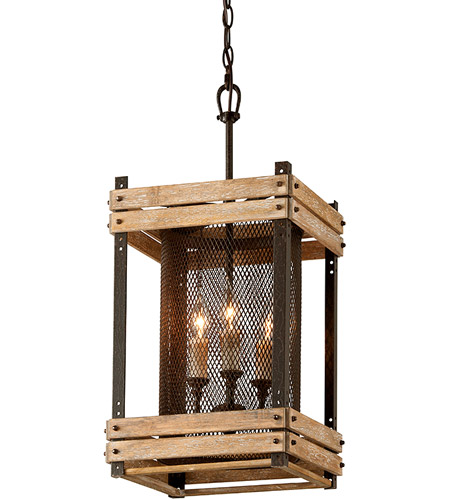 Troy Lighting F4063 Merchant Street 3 Light 12 inch Rusty Iron with Salvaged Wood Slats Pendant Ceiling Light photo
