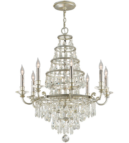 Troy Lighting F4886 Athena 8 Light 30 inch Silver Leaf and Polished Nickel Accents Chandelier Ceiling Light photo
