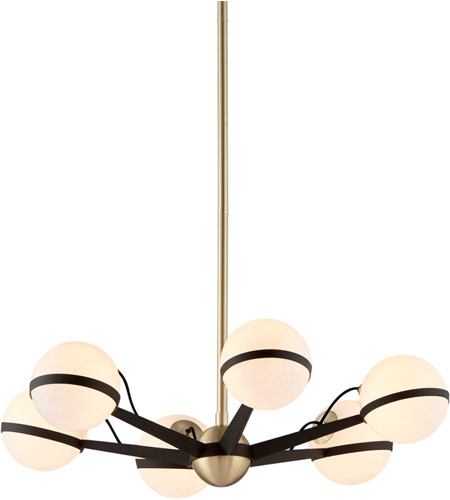 Troy Lighting F5303 Ace 28 inch Textured Bronze and Brushed Brass Chandelier Ceiling Light  photo