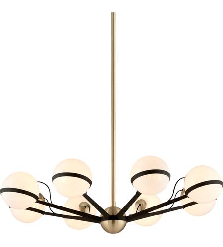 Troy Lighting F5304 Ace 38 inch Textured Bronze and Brushed Brass Chandelier Ceiling Light photo
