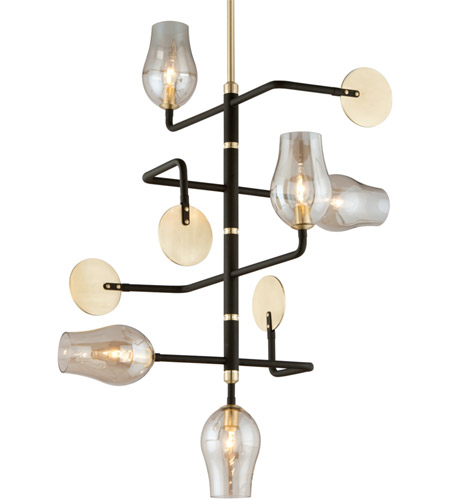 Troy Lighting F5315 Equilibrium 5 Light 31 inch Textured Bronze and Brushed Brass Pendant Ceiling Light photo