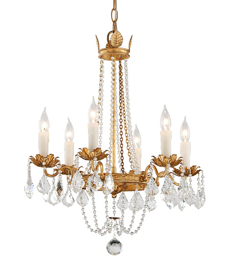 Troy Lighting F5365 Viola 6 Light 22 inch Distressed Gold Leaf Chandelier Ceiling Light photo