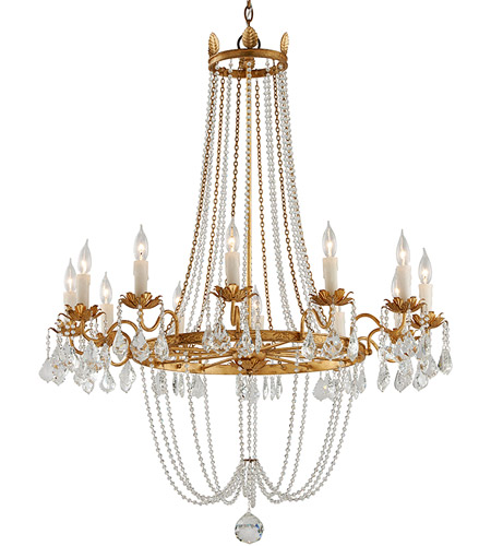 Troy Lighting F5367 Viola 12 Light 38 inch Distressed Gold Leaf Chandelier Ceiling Light photo
