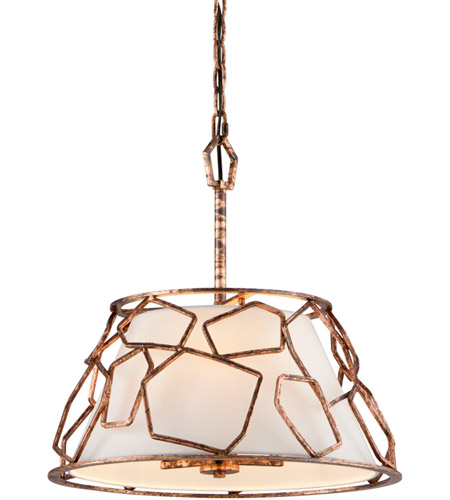 Troy Lighting F5463 Coda 3 Light 18 inch Antique Copper Leaf Pendant Ceiling Light photo