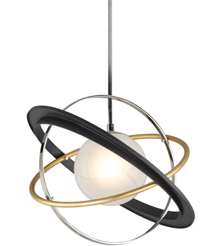 Troy Lighting F5511 Apogee LED 24 inch Bronze with Gold Leaf and Polished Stainless Pendant Ceiling Light photo