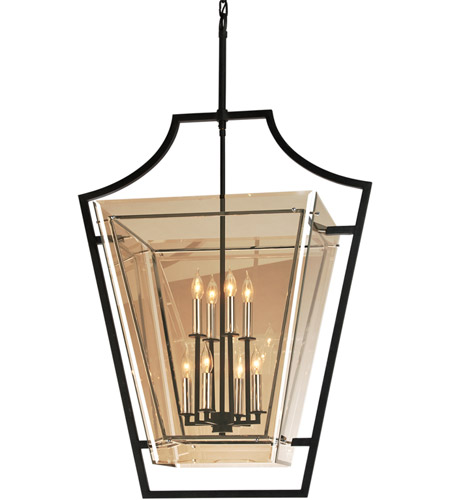 Troy Lighting F5598 Domain 8 Light 31 inch Hand-Worked Iron with Polished Chrome Detail Pendant Ceiling Light, Plated Topaz Glass  photo