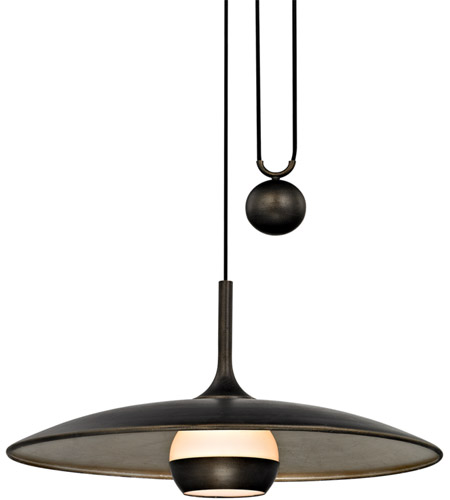 Troy Lighting F5866 Alchemy LED 30 inch Vintage Bronze and Champagne Silver Leaf Pendant Ceiling Light, Opal White Glass photo