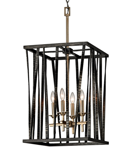 Troy Lighting F5894 Bastille 4 Light 16 inch Pompeii Silver and Silver Leaf Pendant Ceiling Light photo