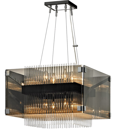 Troy Lighting F5905 Apollo 8 Light 21 inch Dark Bronze and Polished Chrome Chandelier Ceiling Light, Smoked and Clear Glass photo