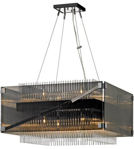 Troy Lighting F5906 Apollo 8 Light 27 inch Dark Bronze and Polished Chrome Chandelier Ceiling Light, Smoked and Clear Glass photo