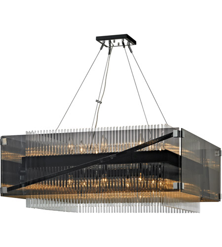 Troy Lighting F5907 Apollo 16 Light 35 inch Dark Bronze and Polished Chrome Chandelier Ceiling Light, Smoked and Clear Glass photo
