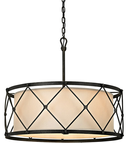 Troy Lighting F5946 Palisade 6 Light 29 inch Aged Pewter Pendant Ceiling Light, Linen Hardback Shade photo