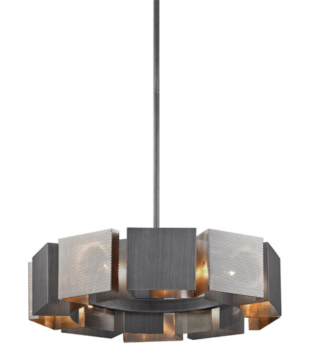Troy Lighting F6045 Impression 10 Light 28 inch Graphite and Satin Nickel Pendant Ceiling Light photo