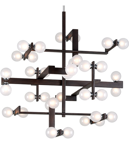 Troy Lighting F6077 Network 36 Light 49 Inch Forest Bronze And Polished Chrome Pendant Ceiling