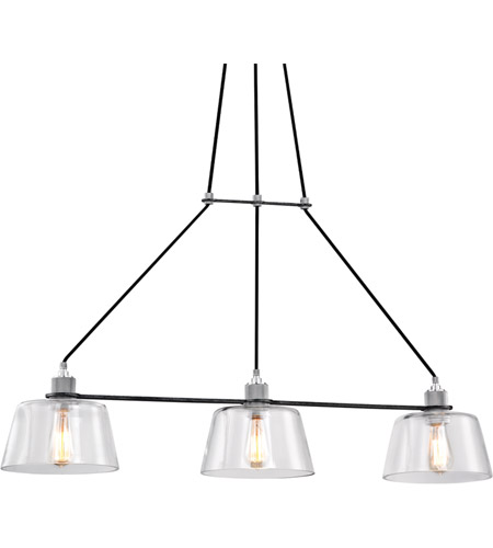 Troy Lighting F6154 Audiophile 3 Light 43 inch Old Silver and Polished Aluminum Pendant Ceiling Light, Clear Glass photo