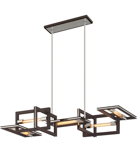 Troy Lighting F6185 Enigma 5 Light 44 inch Bronze with Polished Stainless Linear Pendant Ceiling Light  photo