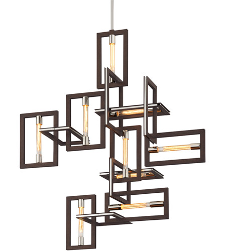 Troy Lighting F6189 Enigma 9 Light 31 Inch Bronze With Polished Stainless Pendant Ceiling Photo