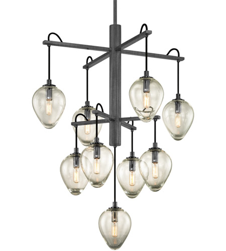 Troy Lighting F6207 Brixton 9 Light 30 inch Gunmetal with Smoked Chrome Pendant Ceiling Light photo