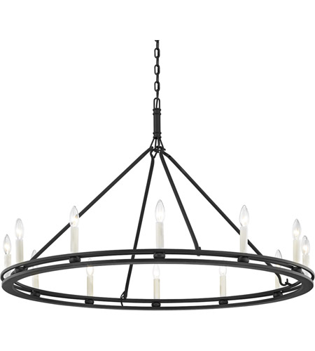 Troy Lighting F6237 Sutton 12 Light 44 inch Textured Black Chandelier Ceiling Light photo