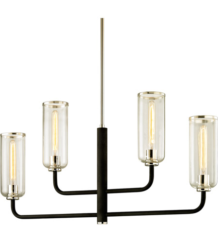 Troy Lighting F6275 Aeon 4 Light 43 inch Carbide Black with Polished Nickel Linear Pendant Ceiling Light photo
