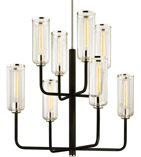 Troy Lighting F6278 Aeon 8 Light 37 inch Carbide Black with Polished Nickel Chandelier Ceiling Light photo