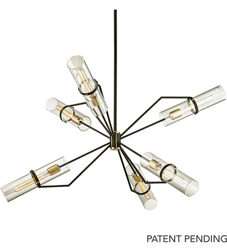 Troy Lighting F6318 Raef 6 Light 50 inch Textured Bronze with Brushed Brass Chandelier Ceiling Light photo