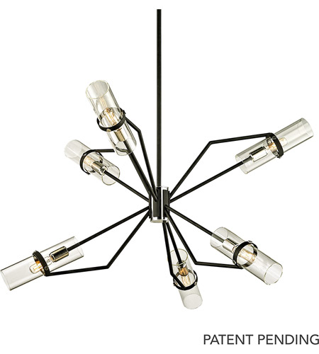 Troy Lighting F6326 Raef 6 Light 36 inch Textured Black with Polished Nickel Chandelier Ceiling Light photo