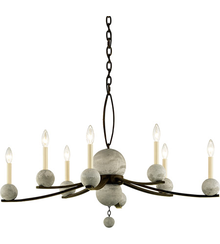 Troy Lighting F6338 Tallulah 8 Light 38 Inch Natural Rust With Raw Concrete Chandelier Ceiling