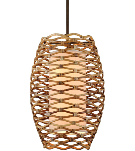 Troy Lighting F6746 Balboa 6 Light 21 inch Bronze and Natural Rattan Pendant Ceiling Light photo